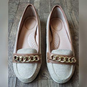 Aldo Gray Brown Loafers Chain Trim Leather Upper